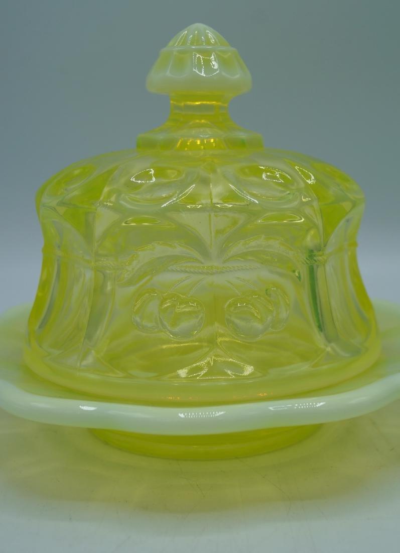 2 VASELINE GLASS COVERED DISHES - 2