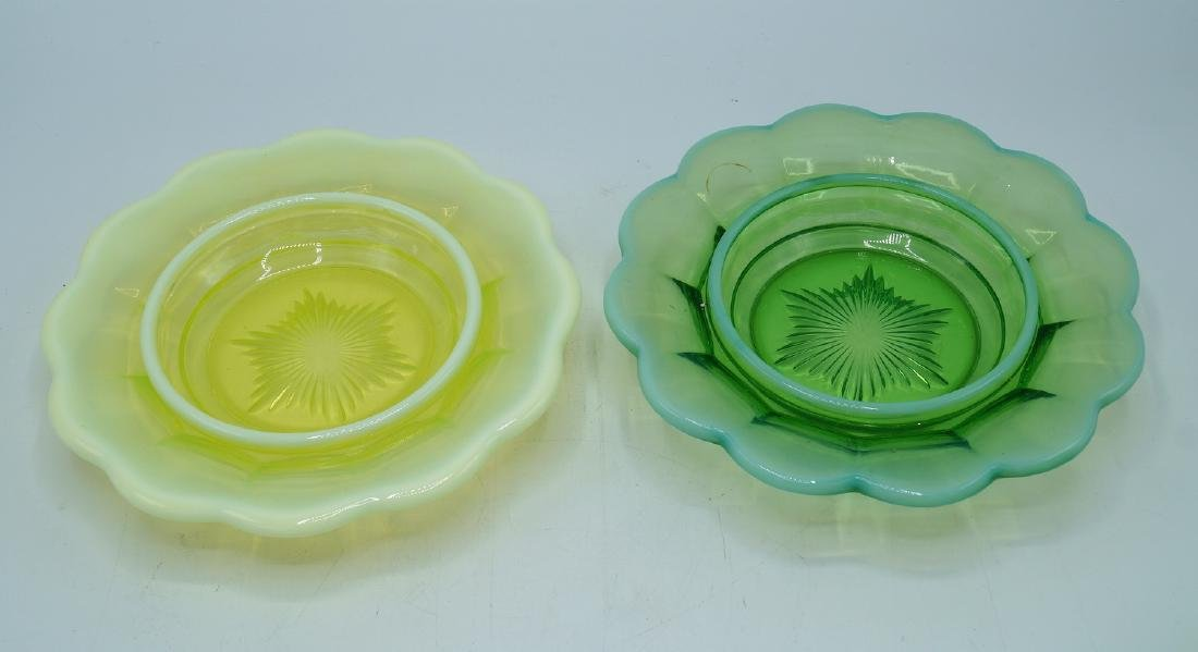 2 VASELINE GLASS COVERED DISHES - 4