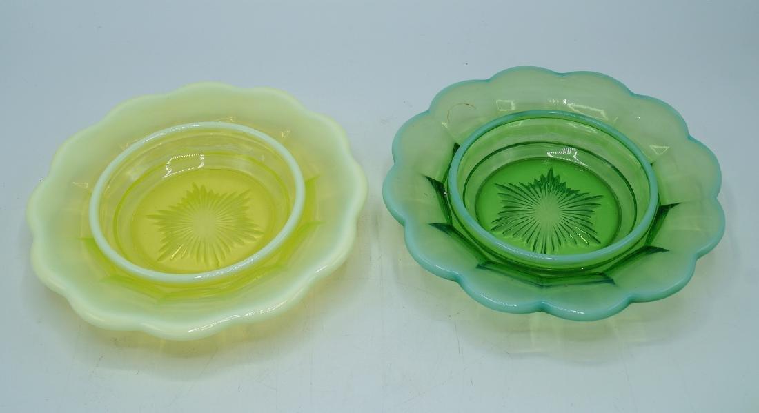 2 VASELINE GLASS COVERED DISHES - 4