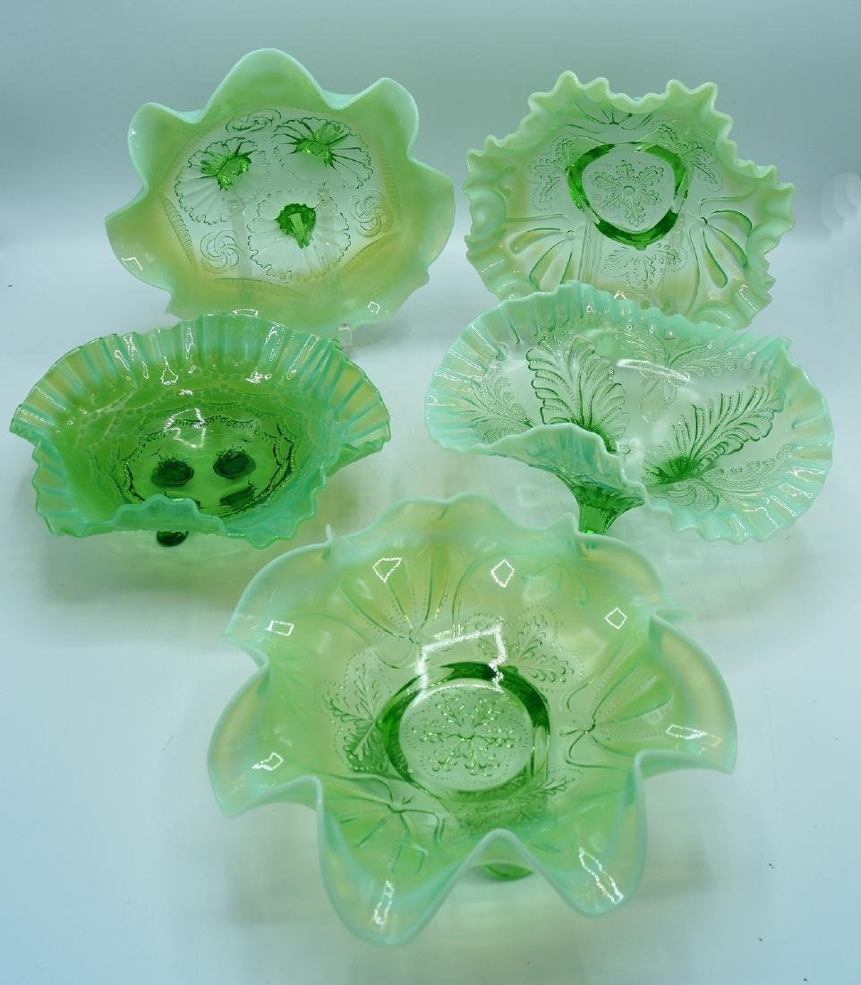 """5 GREEN TO WHITE CARNIVAL BOWLS 3.25""""H 8.5"""" DIA."""