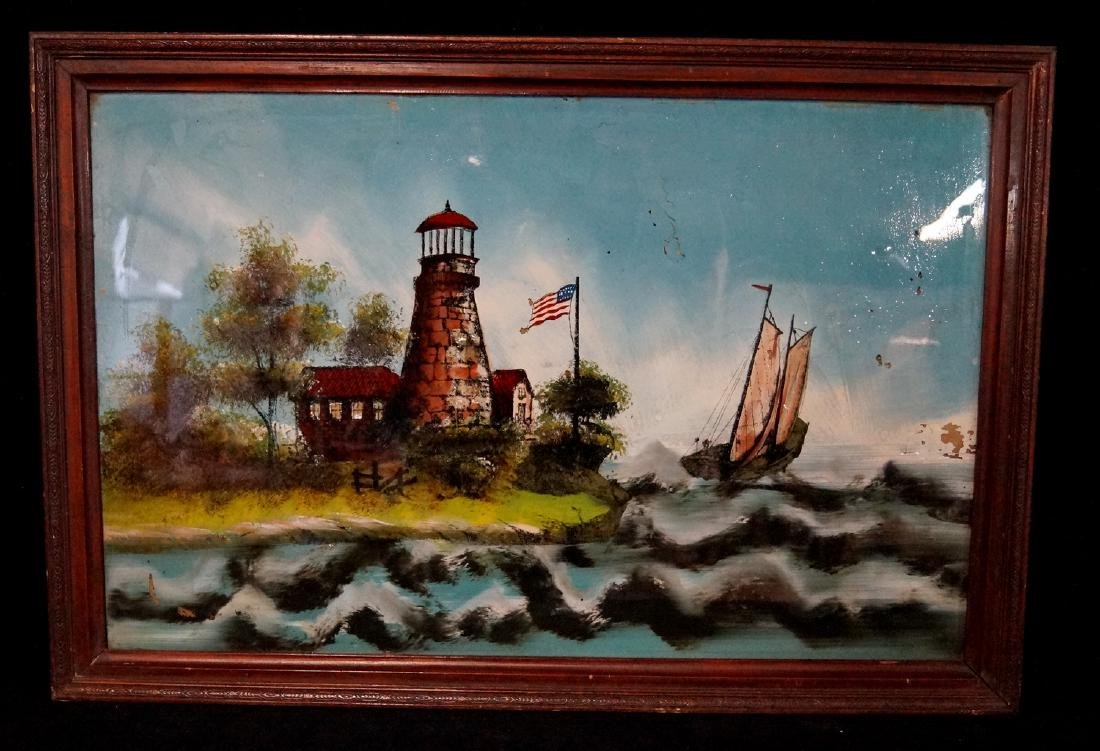 """REVERSE PAINTED GLASS """"SHORE SCENE WITH LIGHT HOUSE"""""""