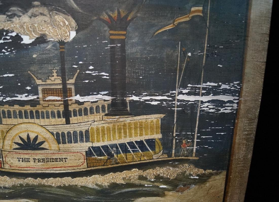 """EMK SGN. PAINTING ON BOARD """" THE PRESIDENT, PADDLE - 2"""
