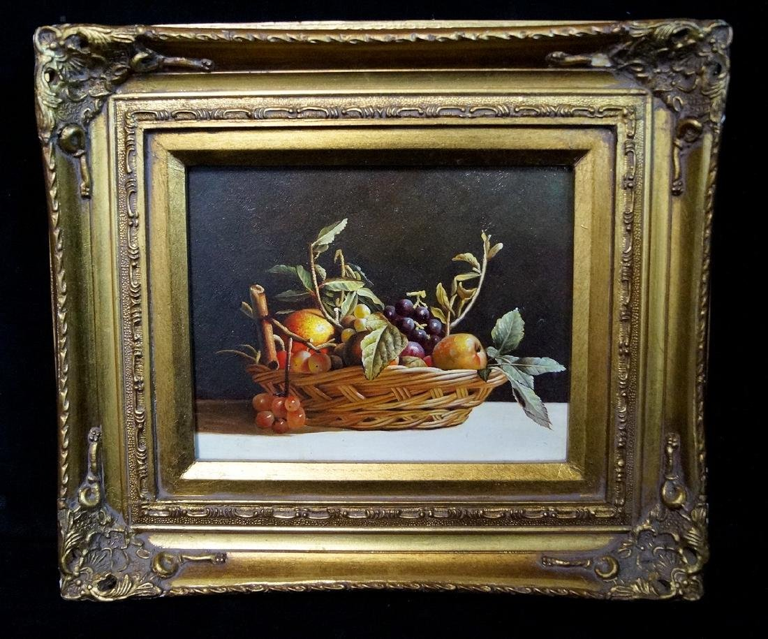 "R. HUVER SGN. OIL ON PANEL ""STILL LIFE WITH FRUIT"""