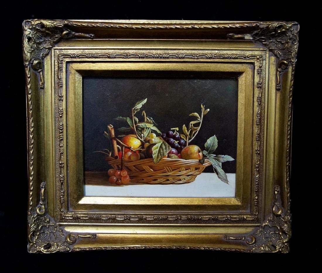 "R. HUVER SGN. OIL ON PANEL ""STILL LIFE WITH FRUIT"" - 2"