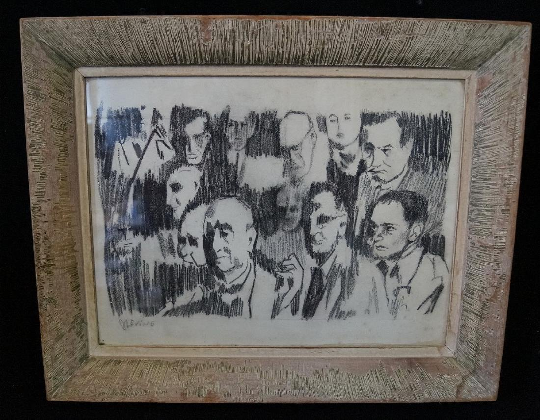 "CHARCOAL DRAWING SGN. J.L. EVINE ""FACES"""