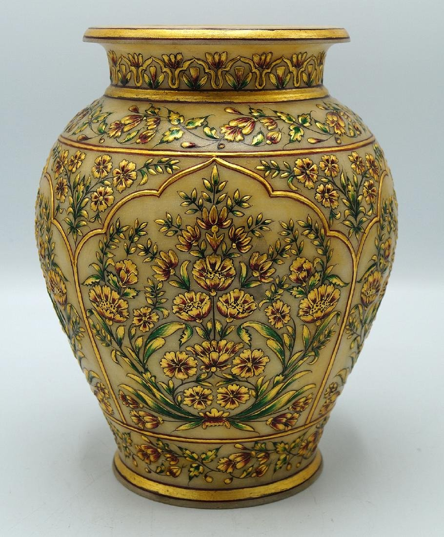 DECORATED ALABASTER VASE