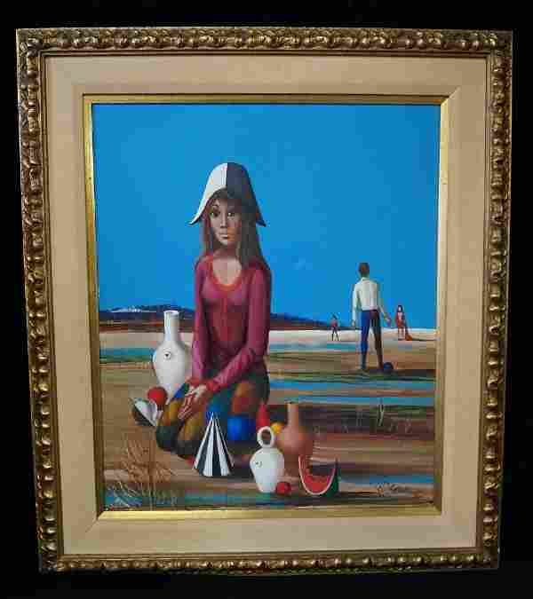 """W.E. SELLIEZ SGN. OIL ON CANVAS MODERN PAINTING 22"""" X"""