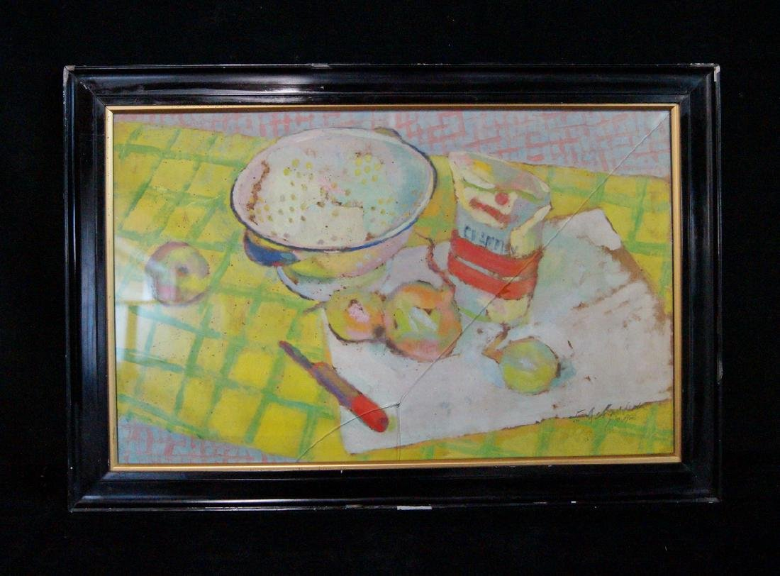 STILL LIFE WITH COLLANDER  ON PAPER SGN. INDISTINCTLY