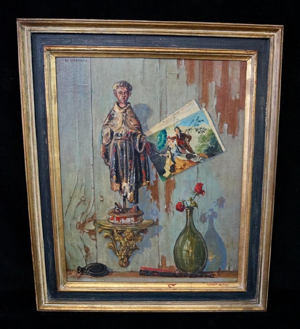 """H. WALTERS SGN. OIL ON ARTISTS BOARD """"SOUVENIRS OF OLD"""