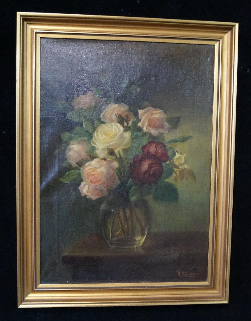 MORSE (?) SGN. OIL ON CANVAS STILL LIFE ROSES 18X13""