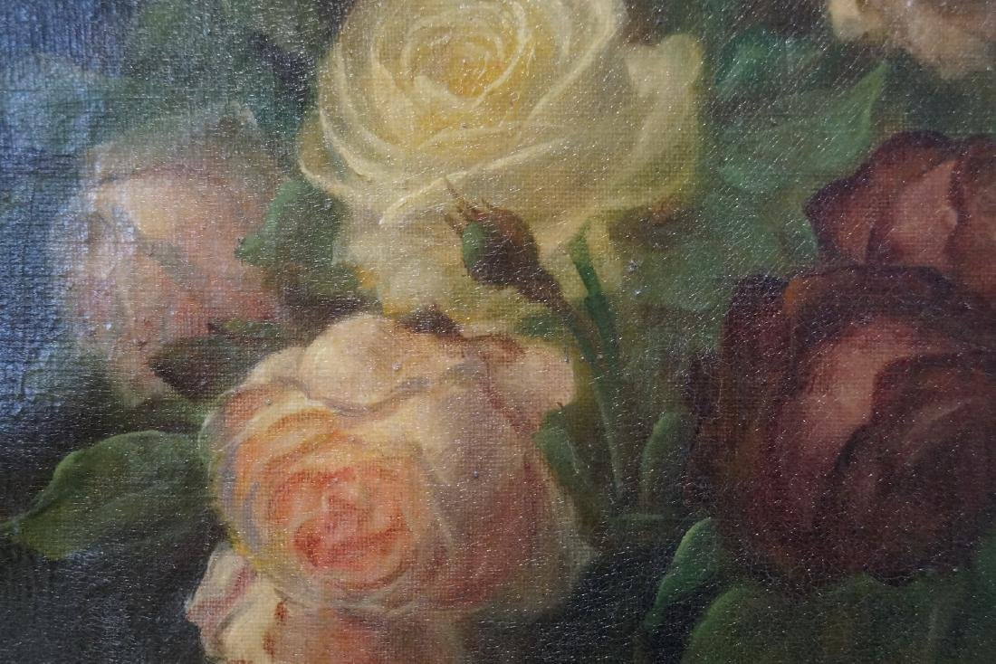 "MORSE (?) SGN. OIL ON CANVAS STILL LIFE ROSES 18X13"" - 3"