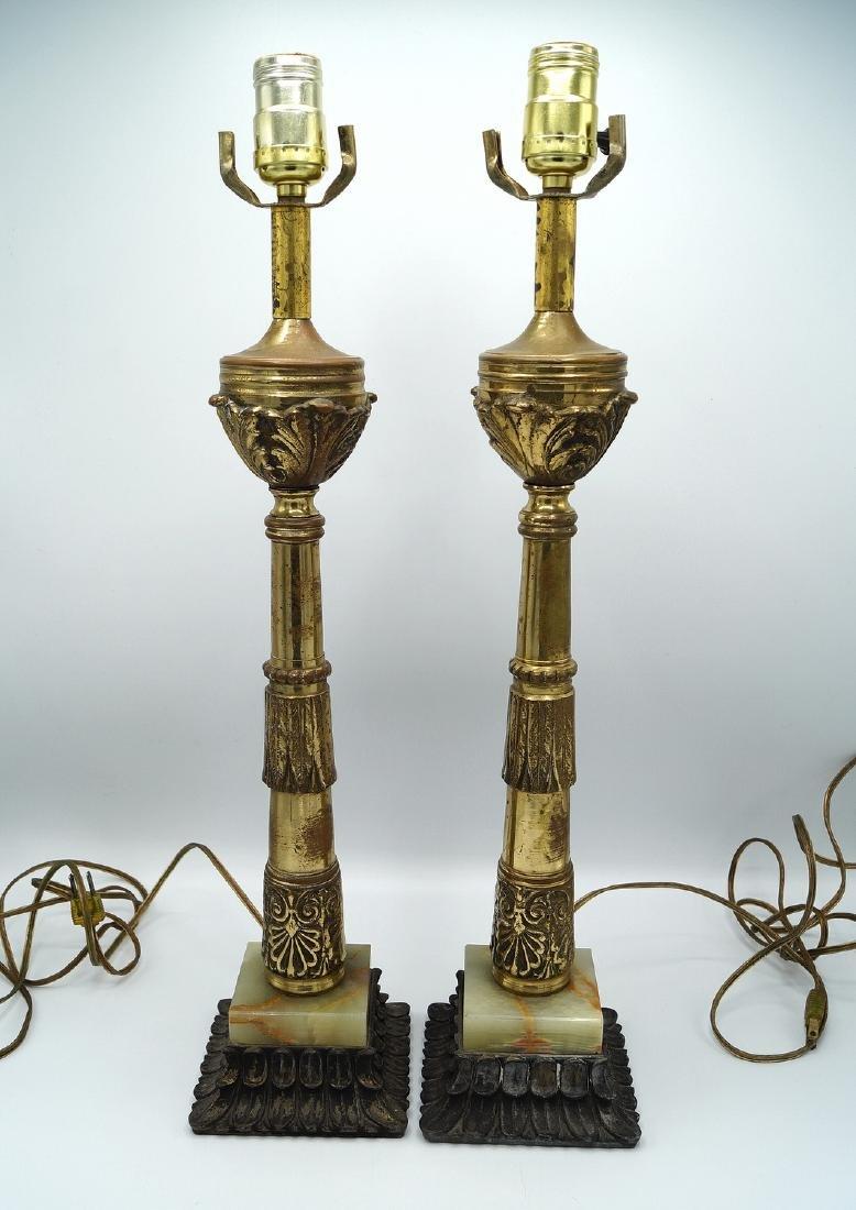 "PR. BRONZE & ONYX LAMPS 22""H"