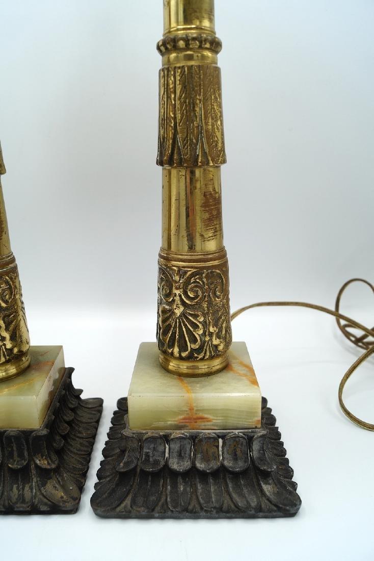 "PR. BRONZE & ONYX LAMPS 22""H - 2"