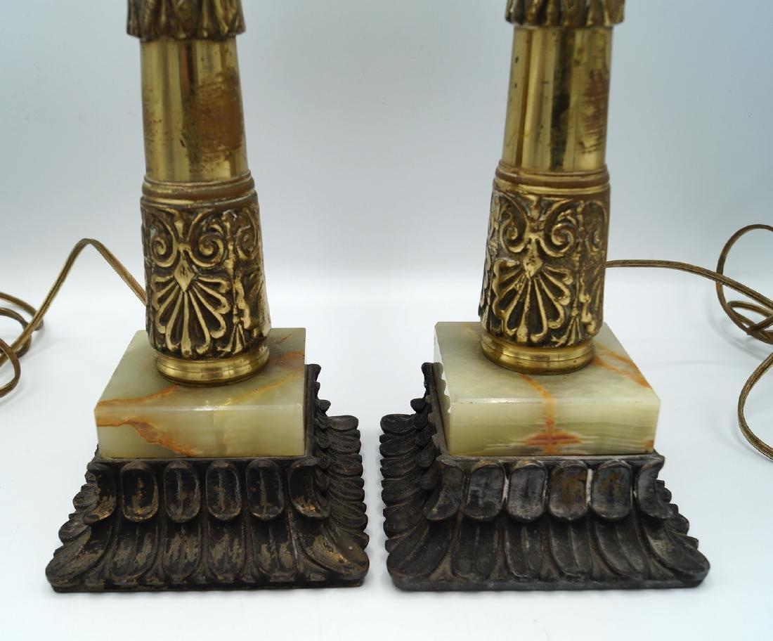 "PR. BRONZE & ONYX LAMPS 22""H - 3"