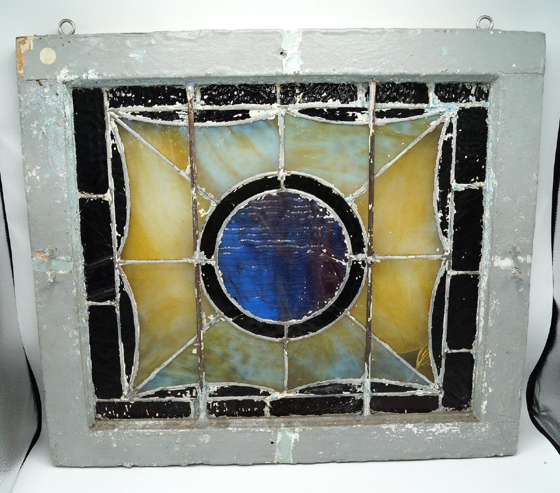 VINTAGE LEADED GLASS WINDOW W/ CIRCLE MOTIF (MISSING