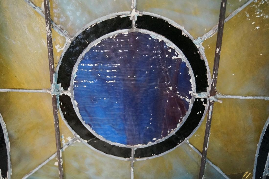 VINTAGE LEADED GLASS WINDOW W/ CIRCLE MOTIF (MISSING - 4