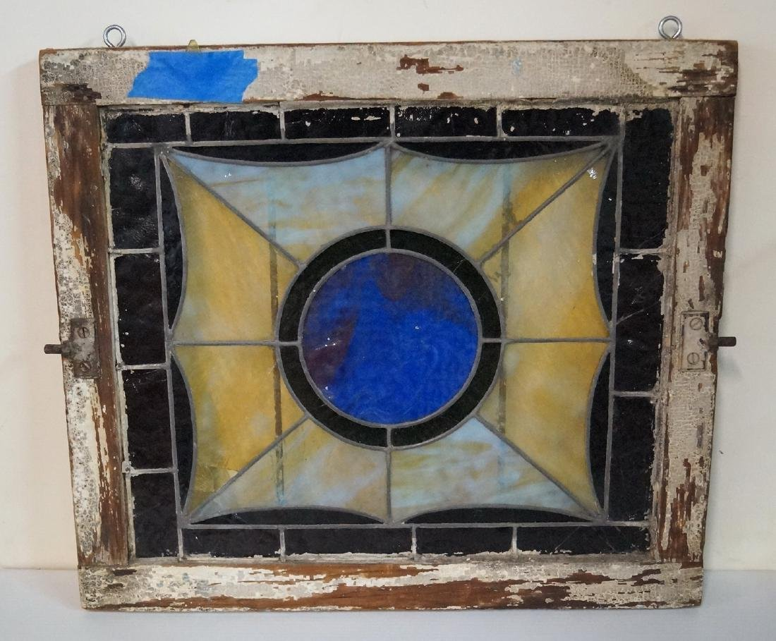 VINTAGE LEADED GLASS WINDOW W/ CIRCLE MOTIF (MISSING - 5