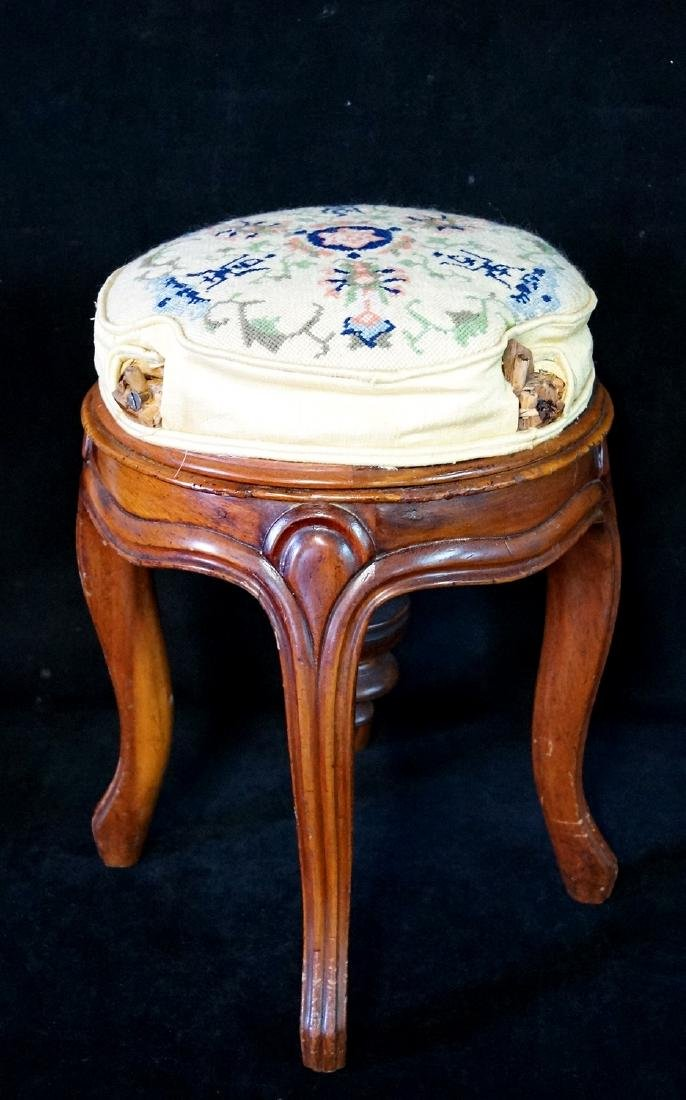 """LOUIS XV STYLE NEEDLEPOINT PIANO STOOL (AS IS) 18""""H 12"""""""