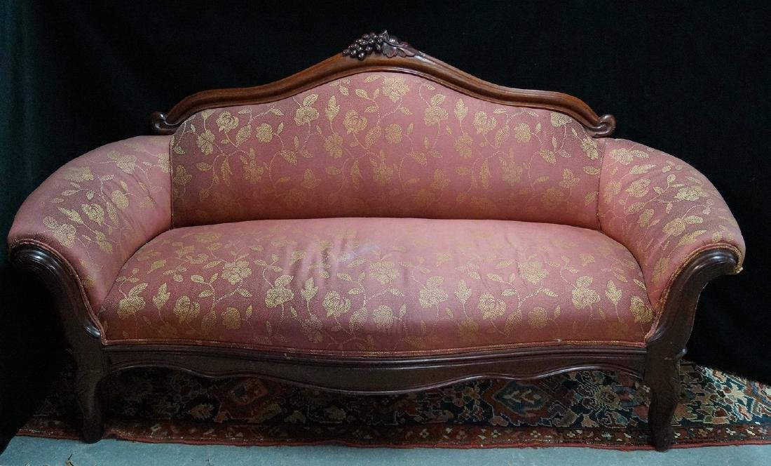 VICTORIAN CARVED LOW SETTEE