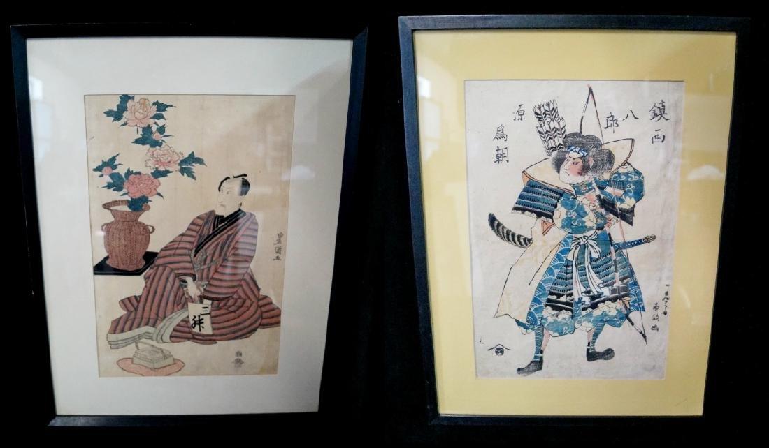 2 JAPANESE WOODBLOCK PRINTS, TOYOKUNI NUMBER I (KABUKI
