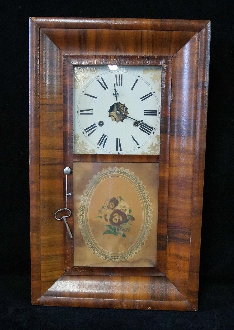JEROME OGEE CLOCK WITH PANSY DECORATION