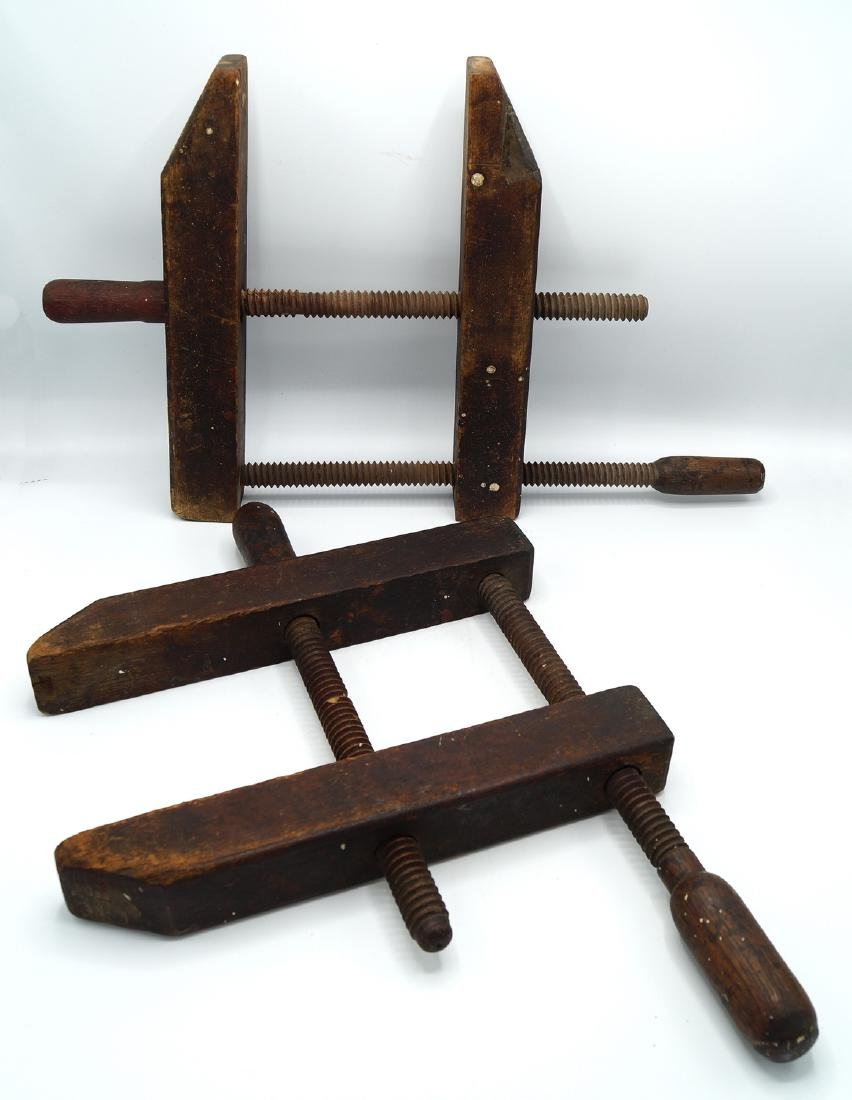 2 ANTIQUE WOOD CLAMPS