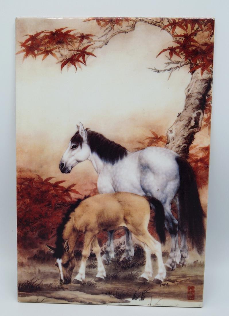 ORIENTAL TILE W/ HORSE MOTIF