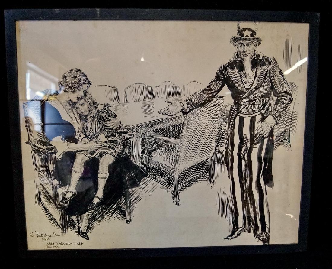 JAMES MONTGOMERY FLAGG PEN & INK  ILLUSTRATION