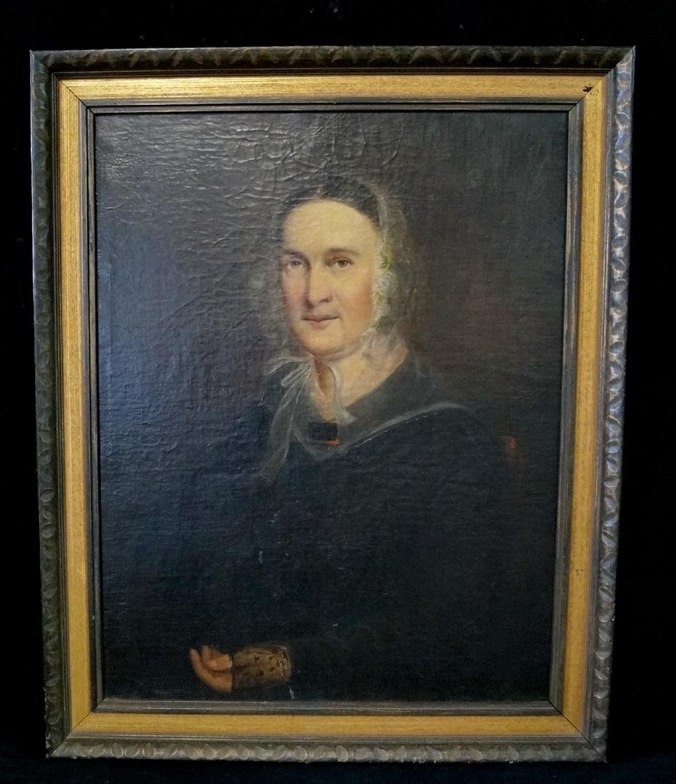 19TH C. AMERICAN WORK ON CANVAS PORTRAIT OF A WOMAN