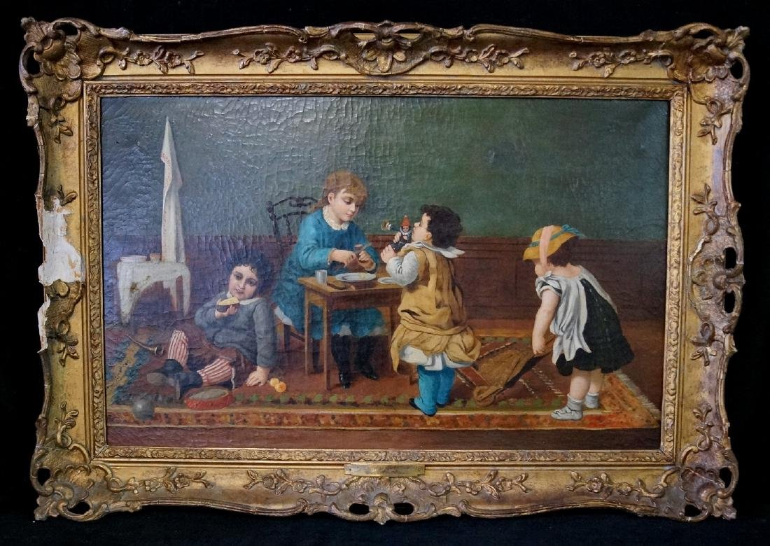 """LATE 18TH C. OIL ON CANVAS """"CHILDREN AT PLAY"""""""