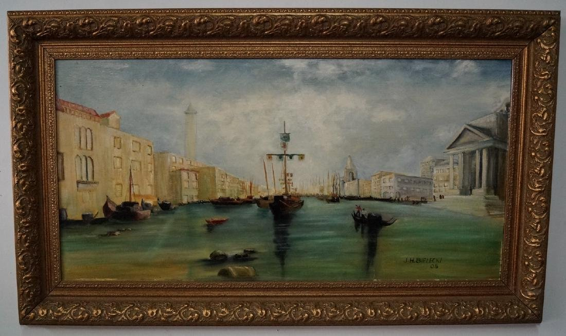 "J. BIELECKI SGN. OIL ON BOARD ""VENETIAN SCENE"""