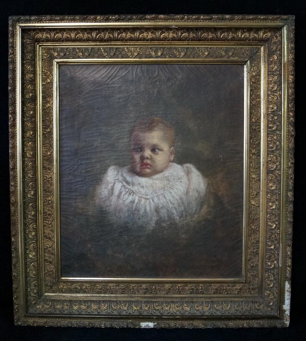 SAMUEL KNIGHT SGN. OIL ON CANVAS PORTRAIT OF A BABY
