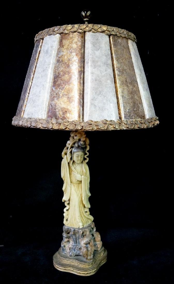 JADE & HARDSTONE ASIAN LAMP