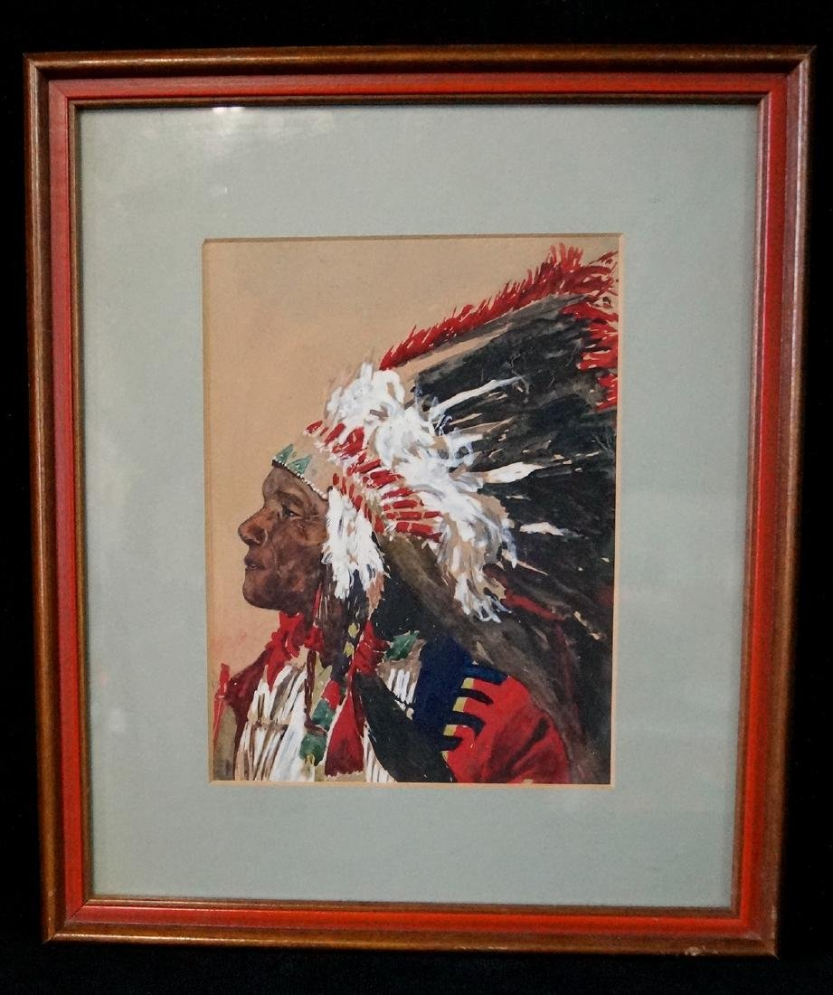 """WATERCOLOR """"INDIAN CHIEF WITH HEADRESS"""" 7.5 X 6"""""""