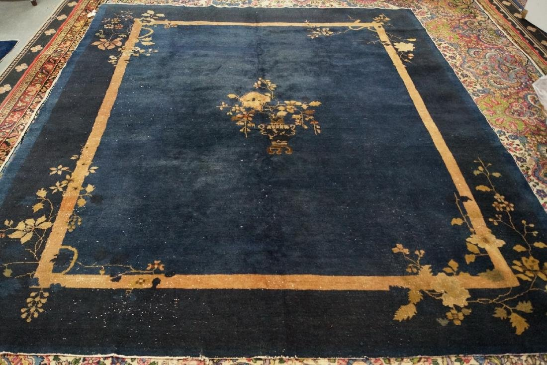 C. 1920 DARK BLUE CHINESE RUG 8' X 9'7""