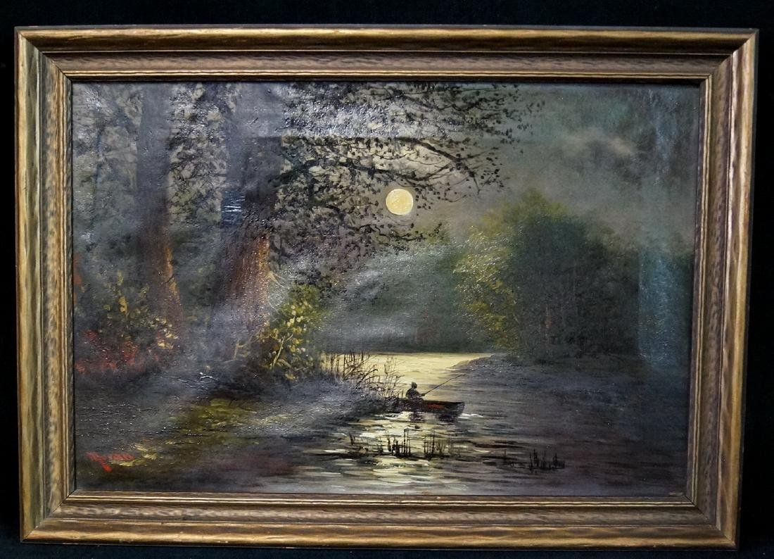 "EDWARD MORAN ATRRIBUTED LANDSCAPE ""MOONLIGHT FISHING"""