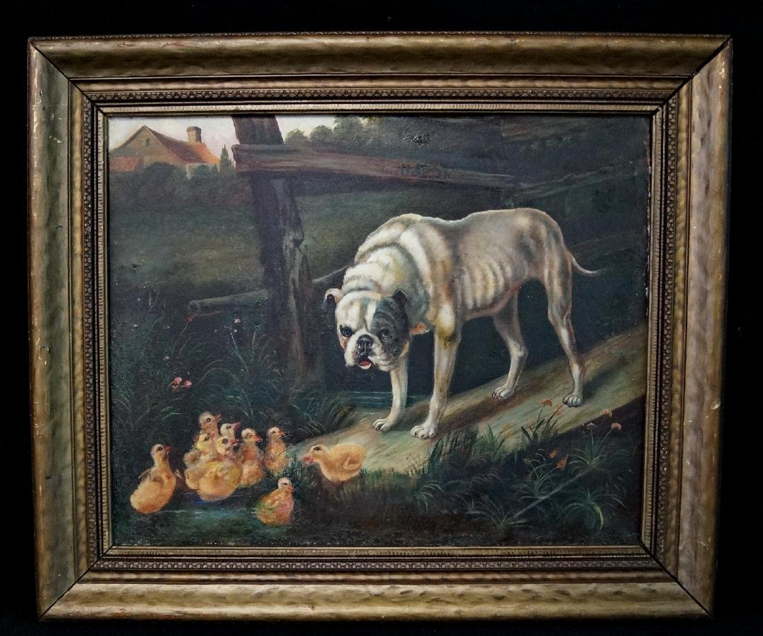 "HANNAH BROWN SKEELE OIL ON CANVAS ""DOG & BABY DUCKS"""