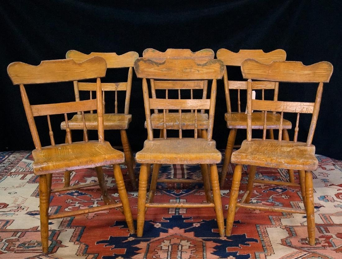 SET SIX 19TH C. AMERICAN PAINTED CHAIRS