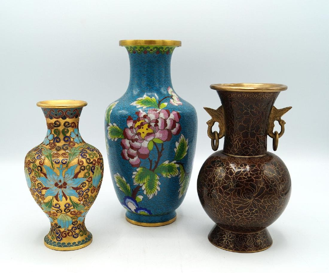 GROUP 3 CLOISONNE VASES