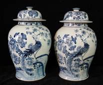 PR BLUE  WHITE TEMPLE JARS FLOWERS