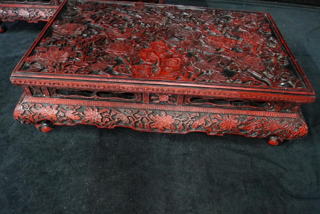 PR. ASIAN FAUX CINNABAR STANDS - 2