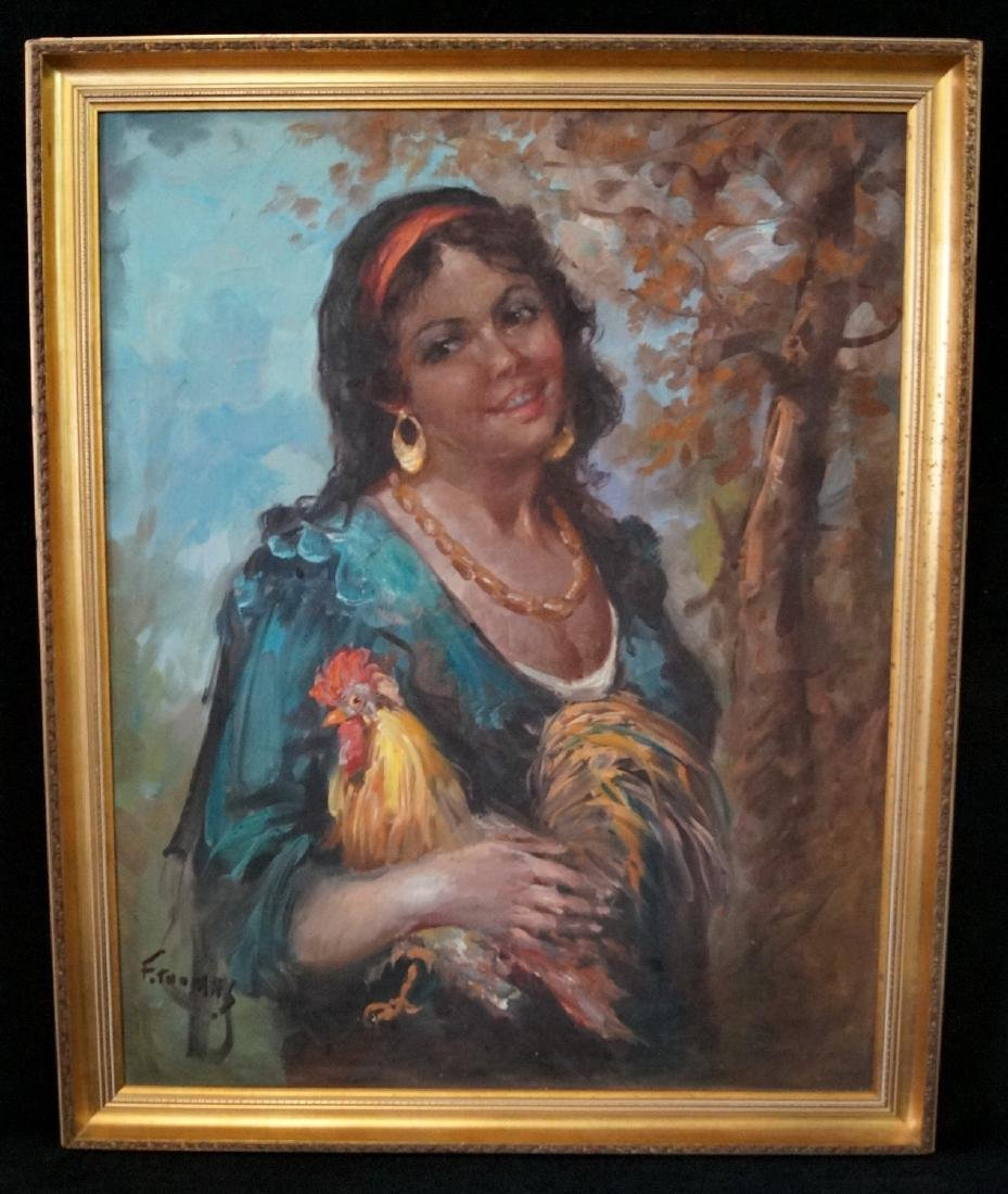 """F. THOMAS SGN. OIL ON CANVAS """"GYPSY AND ROOSTER"""""""