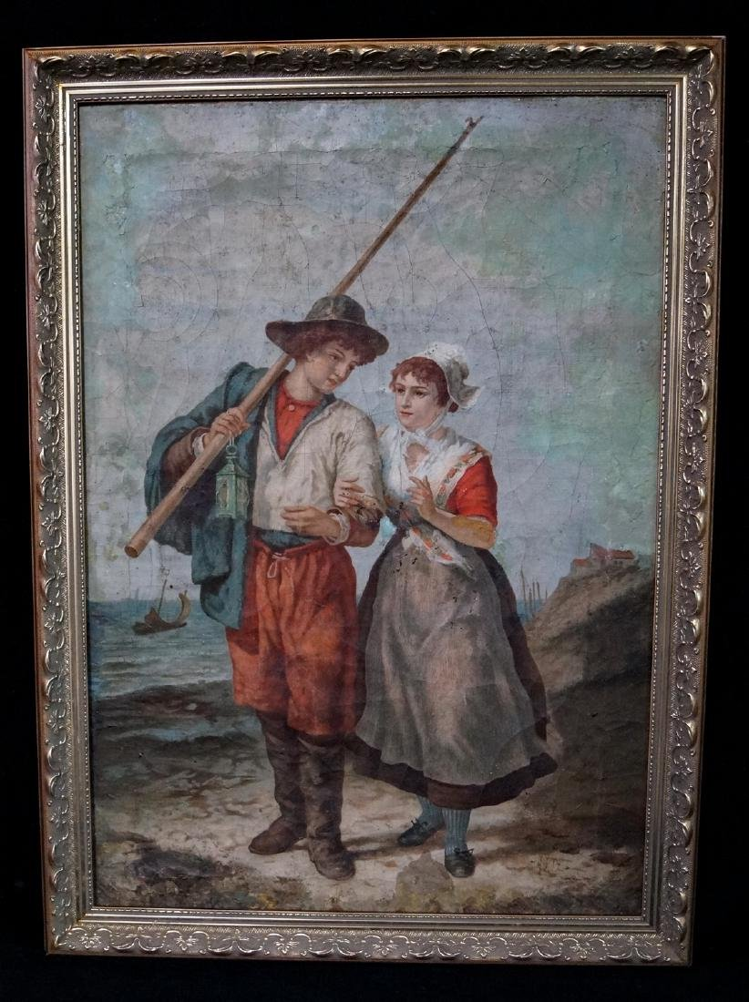 """DAVID A.C. ARTZ ATTRIBUTED OIL ON CANVAS """"HER FISHERMAN"""
