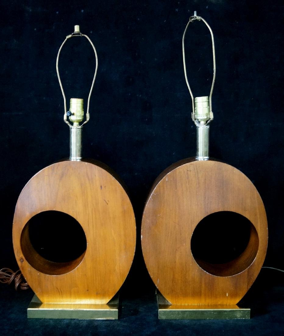 PR. MID CENTURY WOOD LAMPS ON BRASS PLYNTHS