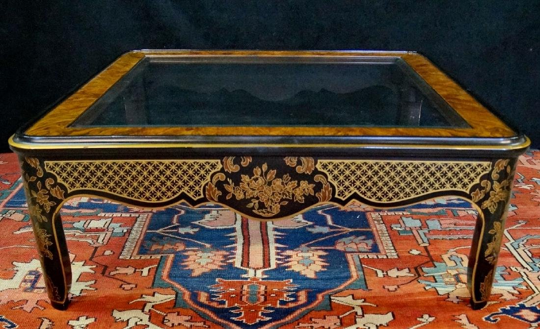 CHINOISERIE  DECORATED COCKTAIL TABLE W/BEVELED GLASS