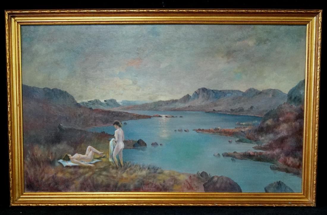 "OIL ON CANVAS SIGNED P. CHABAS ""NUDES IN A LANDSCAPE"""