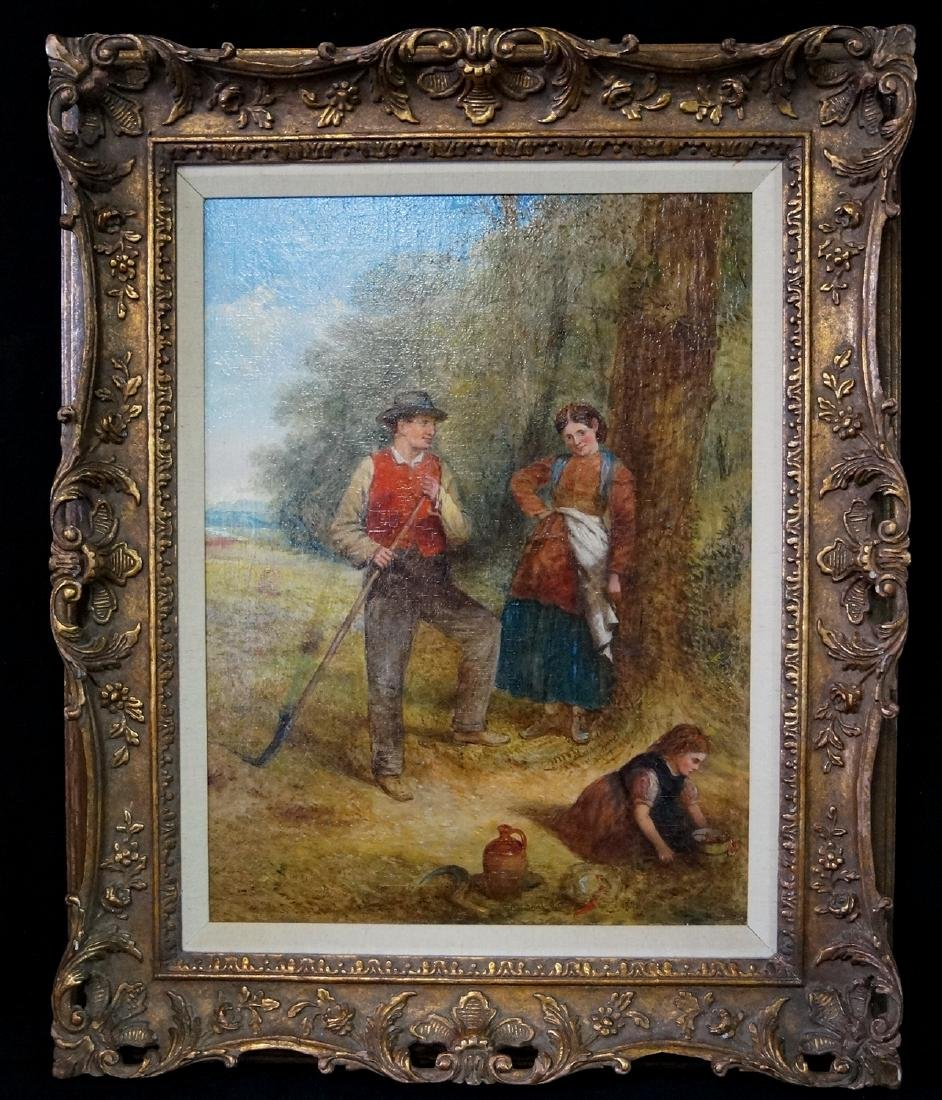"""OIL ON CANVAS SIGNED C.H. COOK """"PASTORAL FAMILY SCENE"""""""