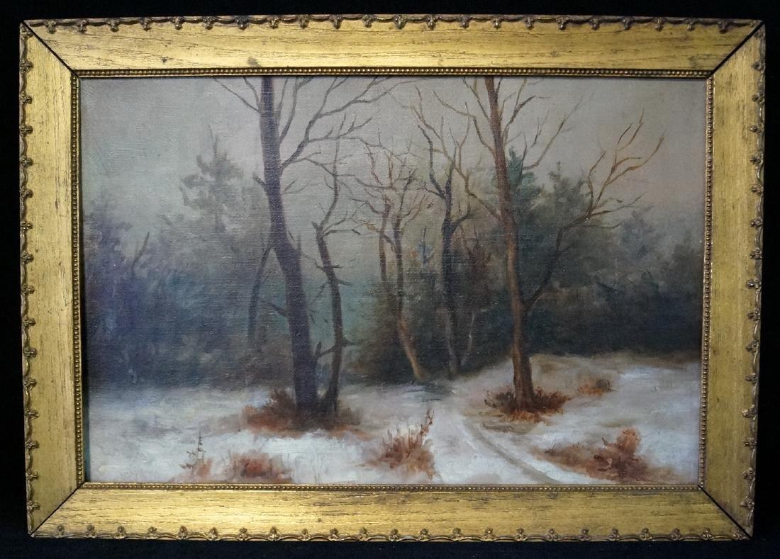 """19TH C. GILT FRAME O/C """"SNOWY LANDSCAPE"""""""
