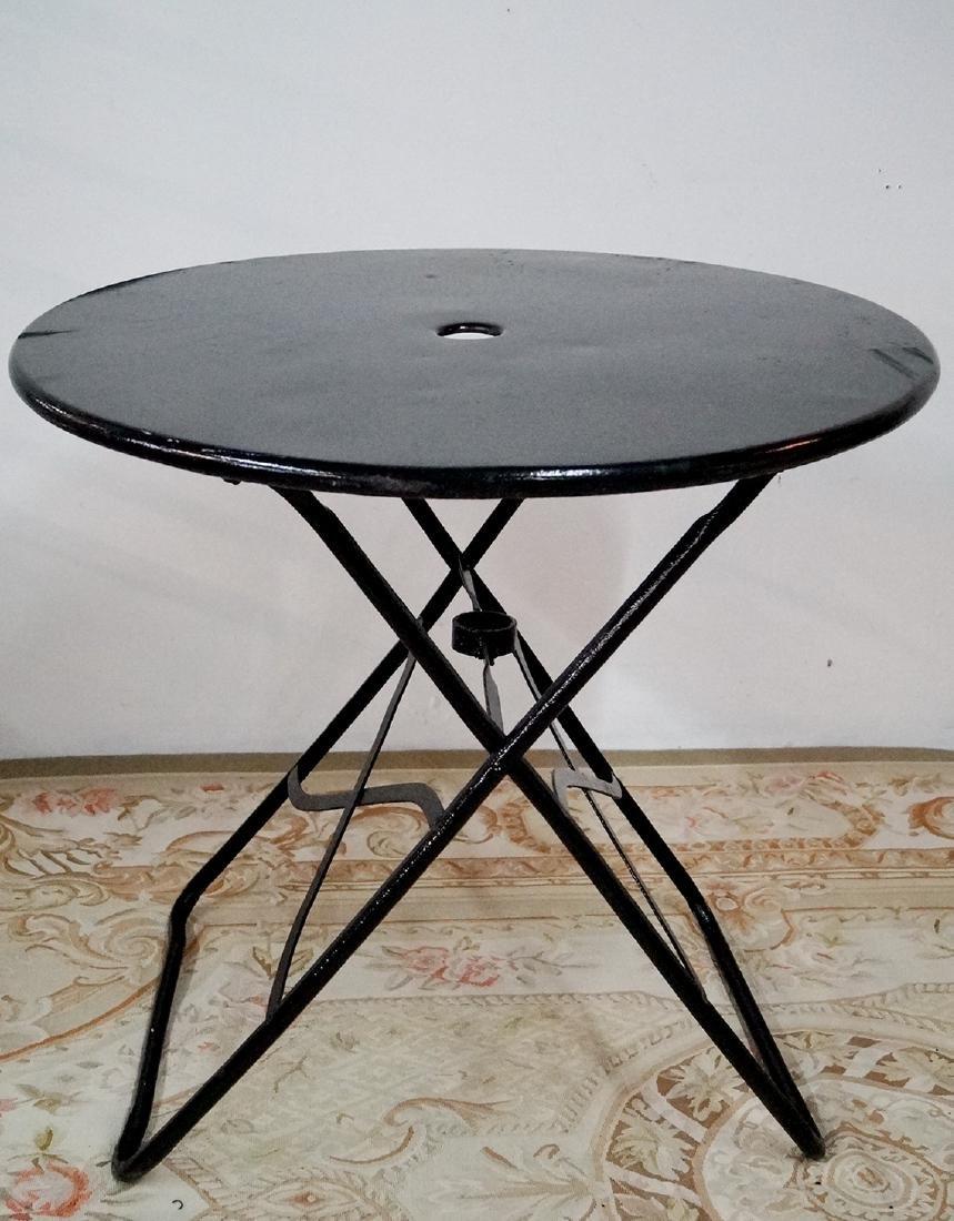 CIRCULAR WROUGHT IRON FOLDING TABLE