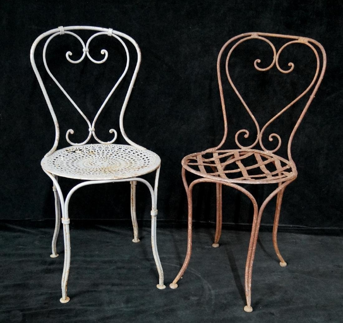 2 VINTAGE WROUGHT IRON SIDE CHAIRS